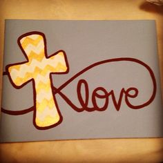 Love canvas with cross on Etsy, $25.00