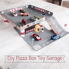 mommo design: toy garage recycling a pizza box #diy