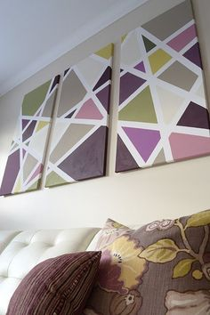 Trendy ideas for living room art collage frames Painters Tape Art, Tape Painting, Diy Painting, Diy Canvas Art, Diy Wall Art, Diy Art, Frame Wall Collage, Cuadros Diy, Art Deco Decor