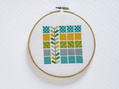 Seafoam Squares Modern Cross Stitch Pattern by ModernStitchTherapy Cross Stitch Geometric, Cross Stitch Love, Modern Cross Stitch Patterns, Cross Stitch Designs, Modern Embroidery, Hand Embroidery Patterns, Embroidery Designs, Embroidery For Beginners, Embroidery Techniques