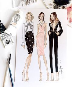 Fashion girl squad goals.  Sketches inspired by @damselindior @chrisellelim & @iamcattsadler, @enews.