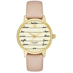 Kate Spade New York  Metro Chalkboard Vachetta Leather Strap... (3,460 MXN) ❤ liked on Polyvore featuring jewelry, watches, accessories, bracelets, pastel pink, gold jewellery, pink jewelry, gold jewelry, kate spade jewelry and kate spade watches