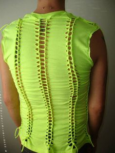 mens or womens shredded,braided tiedyed  tshirt, tank top, shredded tshirt. neon yellow 80s. mens small. womens medium