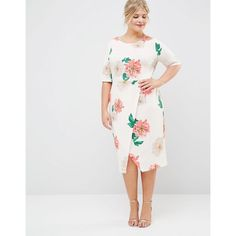 ASOS CURVE Occasion Wrap Front Wiggle in Floral Print ($69) ❤ liked on Polyvore featuring asos curve
