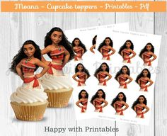 Moana cupcake Toppers - Moana cake toppers - Moana party - Moana birthday printable - Princess Moana topper - Moana printable - Maui by HappywithPrintables on Etsy