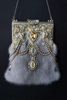 Grey mink purse trimmed with Swarovksi crystals
