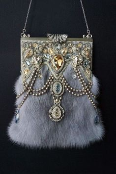Grey mink purse trimmed with Swarovksi crystals