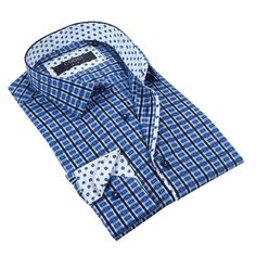 Coogi Luxe Navy/White Mens Dress Shirt Men's