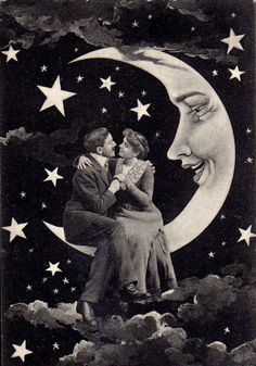 The Man in the Moon looks pretty interested in this couple.