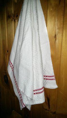 Handwoven Tea Towels natural fibers cotton by FildeMaGie Kitchen Linens, Kitchen Towels, White Tea Towels, White Dishes, Dish Towels, Pure White, Hand Weaving, Fiber, Stripes