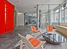Resident lounge at AMLI South Lake Union apartments, a luxury community in Seattle.