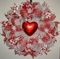 Red Heart Valentines Mesh Wreath Valentines by StarlightWreaths