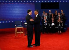 94 - 10/16/12 - President Barack Obama and Republican presidential nominee Mitt Romney arrive at the second U.S. presidential campaign debate in Hempstead, N.Y., on Oct. 16, 2012. (REUTERS/Jason Reed)