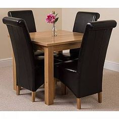 Union Craft Kitchen Dining Set with 4 Chairs Red Barrel Studio Colour (Chair): Red - Red - Size: Small Oak Dining Sets, Solid Oak Dining Table, Kitchen Dining Sets, Oak Table, Extendable Dining Table, Small Dining, Furniture Direct, Modern Furniture, Black Leather Dining Chairs