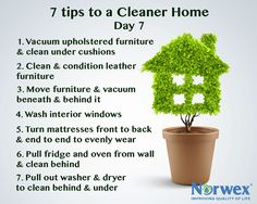 7 tips for a cleaner home:  Vacuum upholstered furniture and clean under removable cushions. Clean and condition leather furniture with the Norwex Leather Shine. Move furniture and vacuum beneath and behind it. Wash interior windows with the Norwex Window Cloth. Turn mattresses front-to-back and end-to-end to equalize wear. Clean the carpets and throw rugs. Pull refrigerator and oven away from the wall and clean under and behind.  Pull out the washer and dryer to clean under and behind.
