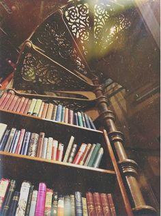 A beautiful library with books as high as to be able to caress the sky called ceiling.