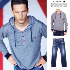 TIFFOSI - Nova Coleção Primavera 2014  Jeans: http://www.tiffosi.com/calcas-de-ganga-tom-regular-16455.html Sweat: http://www.tiffosi.com/sweats-azul-16021.html  #tiffosi #tiffosidenim #newcollection #novacoleção #denim #primavera #spring #newin #man