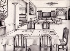 One Point Perspective Living Room Drawing Design Decorating 106321 Kitchen  Design Part 72