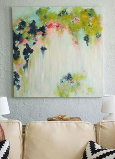 That Big Painting - She painted her own abstract art on canvas. http://@Alisia Mullikin Mullikin Benavides - do you think youd be able to help me make my own? :)