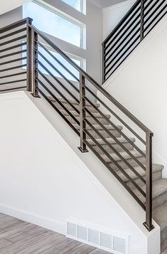 Steel Railing Design, Staircase Railing Design, Modern Stair Railing, House Staircase, Home Stairs Design, Modern Stairs, House Design, Staircase Ideas, Balcony Grill Design