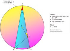 Geometry Problem 1341: Isosceles Triangle, 80-20-80 Degrees, Circumcenter, Angle Bisector