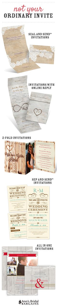 Ann's Bridal Bargains specializes in designing affordable wedding invitations that rival those of our higher priced competitors. We have the knowledge and the expertise it takes to create inexpensive invitations without sacrificing quality. Our most extraordinary collections capitalize on space and creative layouts. These are not your ordinary invites!