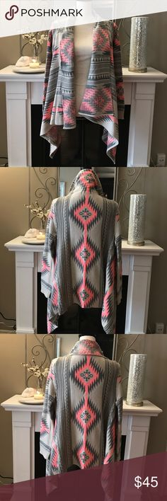 Boho pink and gray sweater! SUPER COMFY and adorable pancho style sweater.  Bright pink and gray.  S/M Tops