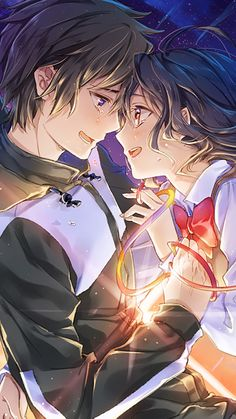 Anime Your Name. Kimi No Na Wa. Manga Couple, Anime Love Couple, Cute Anime Couples, Kimi No Na Wa Wallpaper, Cute Anime Wallpaper, Your Name Wallpaper, Mobile Wallpaper, Manga Anime, Otaku Anime