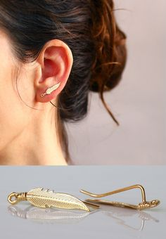 Gold Leaves earrings , Ear pin ,   Ear Climber , Gold Ear Cuff  , Modern Jewelry , Nature Jewelry by sigalitaJD on Etsy https://www.etsy.com/listing/217031382/gold-leaves-earrings-ear-pin-ear-climber