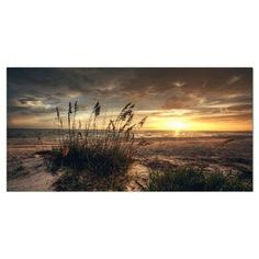 Highland Dunes 'Grassy and Beach Sunset' - Wrapped Canvas Photograph Print Size: H x W x D Painting Frames, Painting Prints, Canvas Prints, Canvas Canvas, Cotton Canvas, Sunset Palette, Sunset Sea, Thing 1, Stained Glass Art
