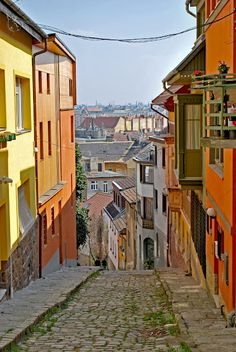 Gül baba street in Buda, a narrow, winding street, leading up to the tomb of Gül baba, a lesser-known Budapest sight, with great views.