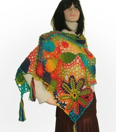 Rainbow freeform #crochet shawl by Renate Kirkpatrick