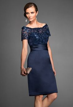 $145.65 2015 Glistening Off The Shoulder Sequin Short Sleeves Sheath/Column Knee-length Elastic Woven Satin Brides Mothers Outfits Online Designer HTMD-1027 - ca-bridal.com