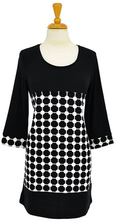 Black White Circle Tunic~ Best selection of Tunics & matching accessories ~ Flat postage worldwide ~ Petite to Plus sizes ~ www.ilovetunics.com
