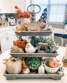 Kitchen Countertop Decor, Fall Kitchen Decor, Seasonal Decor, Fall Decorations, Holiday Decor, Tray Styling, Tray Decor, Farmhouse Decor, Farmhouse Style