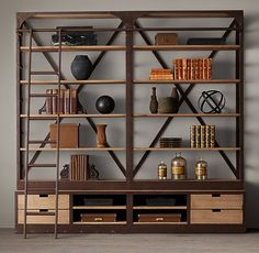 RH makes the most delightful rustic furniture with oxidized metal and unfinished wood, lovely pieces for any home!