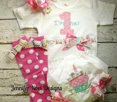 Girls First Birthday Outfit, Shirt or Onepiece, Bloomers, Hairbow, Headband, and Baby Legs, long or short sleeves by jennifernoeldesigns on Etsy https://www.etsy.com/listing/176954685/girls-first-birthday-outfit-shirt-or