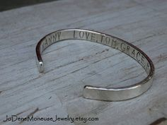 Personalized thick sterling silver cuff for a man or a woman by JoDeneMoneuseJewelry on Etsy