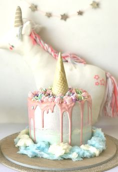 "Unicorn Drip Cake from an ""I Believe in Unicorns"" Birthday Party on Kara's Party Ideas | KarasPartyIdeas.com (8)"
