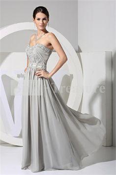 Silver A-Line Floor-Length Sleeveless Chiffon/Silk-like Satin Prom Dress