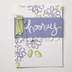 We really love this cute card made using the new Watercolor Words stamp set.