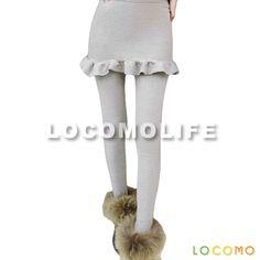 Women Skirt Attached Peplum Ruffle Legging Light gray