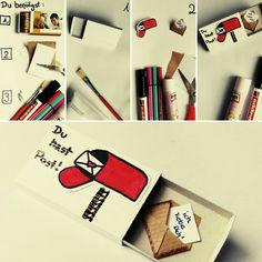 """DIY Streicholzschachtel - Botschaft: """"Du hast Post - Ich liebe Dich"""" Super leicht zum Selbstmachen!"""