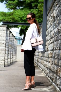 FashionHippieLoves. White long sleeved blouse+black pants+Valentino Rockstud nude pumps and shoulder bag+sunglasses. Late Summer Outfit 2016