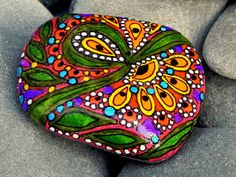 Rain Forest Echo / Painted Stone / Sandi Pike by LoveFromCapeCod, $38.00