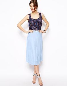 ASOS Midi Skirt In Textured Pleat