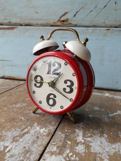 Vintage Red and White Alarm Clock