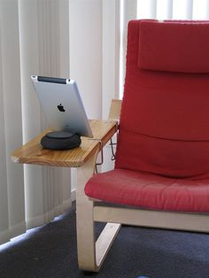 I'm making the boyfriend do this next weekend >> IKEA Hackers: Poang Armrest Extension