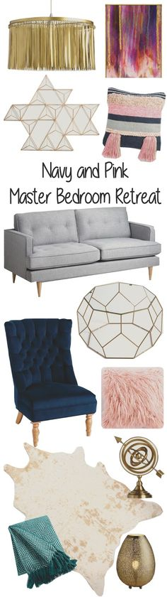 A Kailo Chic Life: Style It - A Navy and Pink Master Bedroom Retreat