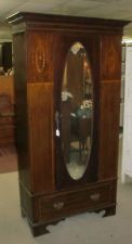 Antique Armoire Wardrobe Oval Beveled Mirror Door With Drawer Inlay